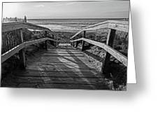 Ogunquit Beach Footbridge At Sunrise Ogunquit Maine Black And White Greeting Card