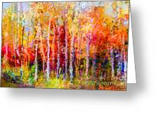 Oil Painting Landscape, Colorful Autumn Greeting Card