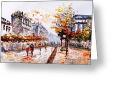 Oil Painting - Street View Of Paris Greeting Card
