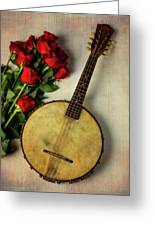 Old Banjo And Roses Greeting Card