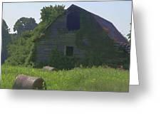 Old Barn And Hay Bales 2 Greeting Card