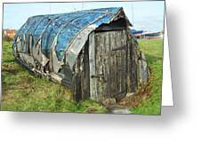 old boat hut at Lindisfarne island Greeting Card