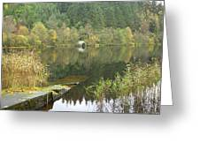 old boathouse at Loch Ard near Aberfoyle in autumn Greeting Card