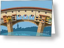 Old Bridge In Florence Flat Illustration Greeting Card
