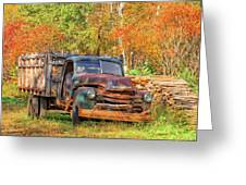 Old Farm Truck Fall Foliage Vermont Square Greeting Card