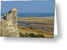 Old Fortress Guarding Tower In Portugal Greeting Card