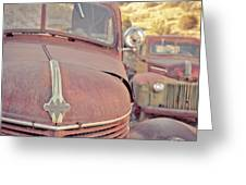 Old Friends Two Rusty Vintage Cars Jerome Arizona Greeting Card