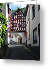 old historic street and woodframed house in Ediger Germany Greeting Card