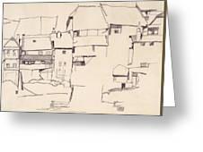 Old Houses In Krumau        Greeting Card