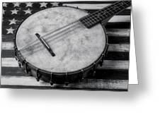 Old Mandolin Banjo In Black And White Greeting Card