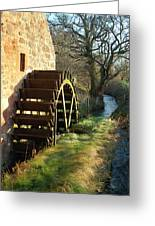 old mill wheel and stream at Preston Mill, East Linton Greeting Card