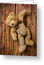 Old Teddy Bear Hanging On The Door Greeting Card