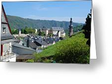 old town walls and church and buildings of Cochem Greeting Card