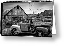 Old Truck At The Barn Bordered Black And White Greeting Card