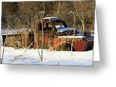Old Truck In Winter Snow In Hope Alaska Greeting Card