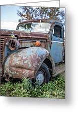 Old Vintage Blue Pickup Truck Among The Weeds Greeting Card