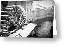 Old Water Wheel Certovka Canal Prague Black And White Greeting Card