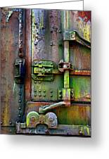 Old Weathered Railroad Boxcar Door Greeting Card