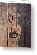 Old Wooden Door And Keyhole Greeting Card