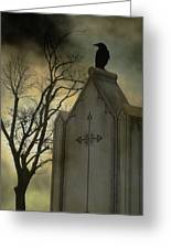 Ominous Clouds Surround Crow Greeting Card