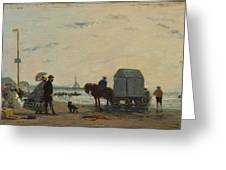 On The Beach At Trouville  Greeting Card