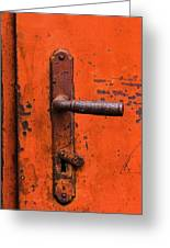 Orange Door Handle Greeting Card