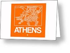 Orange Map Of Athens Greeting Card