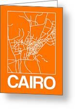 Orange Map Of Cairo Greeting Card