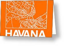 Orange Map Of Havana Greeting Card