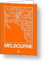 Orange Map Of Melbourne Greeting Card