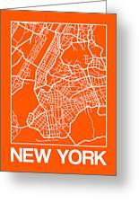 Orange Map Of New York Greeting Card