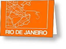 Orange Map Of Rio De Janeiro Greeting Card