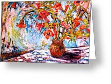Orange Trumpet Flowers Greeting Card