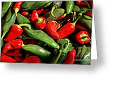 Organic Red And Green Peppers Greeting Card