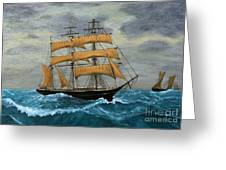 Original Artwork, Clipper Ships At Sea Greeting Card
