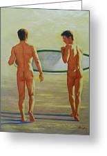 Original  Man Body Oil Painting  Gay Art -two Male Nude By The Sea#16-2-3-02 Greeting Card