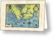 Outer Banks Historic Antique Map Hand Painted Greeting Card