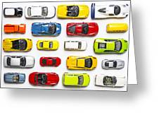 Overhead View On Colorful Car Toys Greeting Card