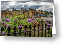 Overlooking The Train Station In Edinburgh Greeting Card