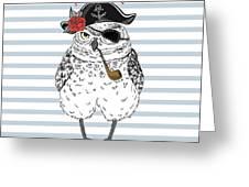 Owl Pirate, Nautical Poster, Hand Drawn Greeting Card