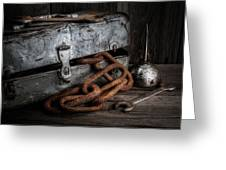Painted Toolbox And Chain Greeting Card