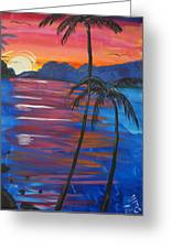 Palm Trees And Water Greeting Card