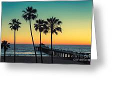 Palm Trees At Manhattan Beach. Vintage Greeting Card