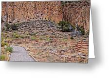 Panorama Of Ancient Tyuonyi Pueblo Dwellings At Bandelier National Monument - Los Alamos New Mexico Greeting Card