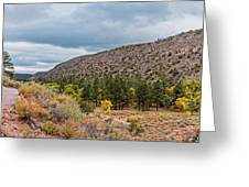 Panorama Of Cliff Dwelling And Fall Cottonwoods In Frijoles Canyon - Bandelier National Monument  Greeting Card