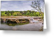 Panorama Of Link Falls At Upper Bull Creek District Greenbelt Park - Austin Texas Hill Country Greeting Card