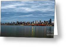 Panorama Of Seattle Skyline At Night With Storm Clouds Greeting Card