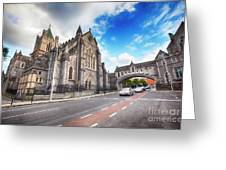 panorama of The Cathedral of Dublin Greeting Card by Ariadna De Raadt