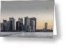 Panoramic View Of Manhattan Island And The Brooklyn Bridge At Su Greeting Card