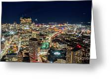 Panoramic View Of The Boston Night Life Greeting Card